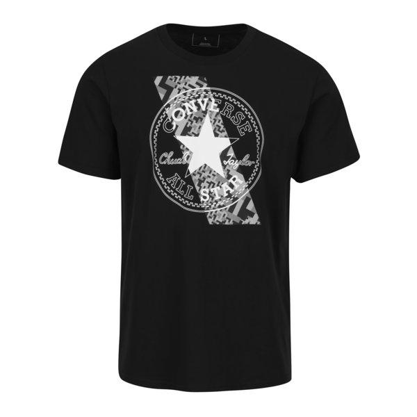 Tricou negru din bumbac cu print pentru barbati - Converse Chuckpatch