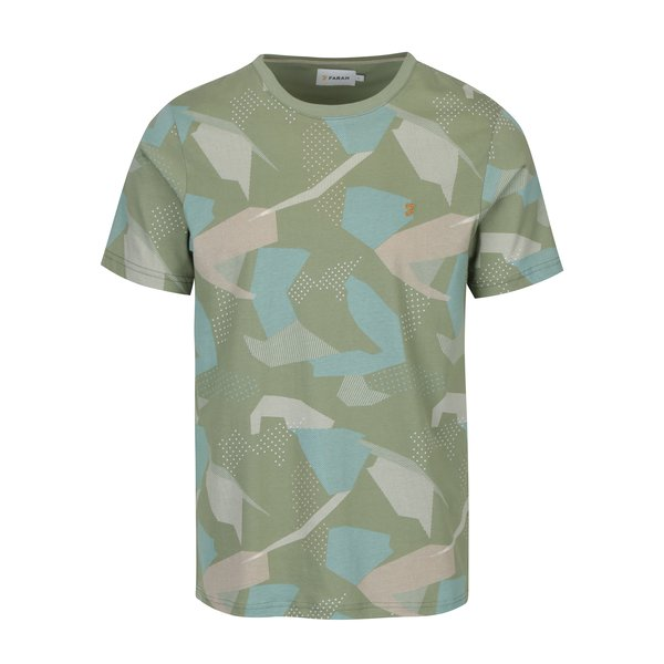 Tricou verde deschis cu print army abstract Farah Northenden