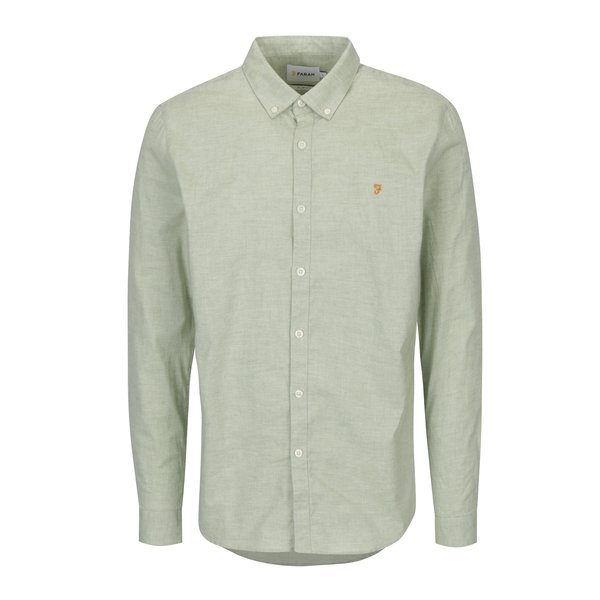 Camasa slim fit verde deschis cu guler buttons-down Farah Steen