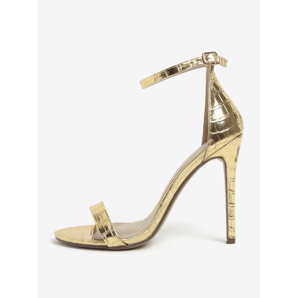 Sandale aurii cu toc cui si model piele de sarpe MISSGUIDED
