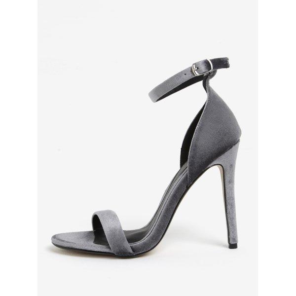 Sandale gri cu toc cui si aspect catifelat MISSGUIDED