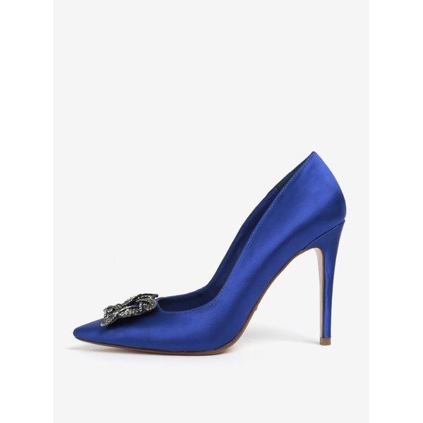 Pantofi satinati albastri cu aplicatie decorativa Dune London Breanna