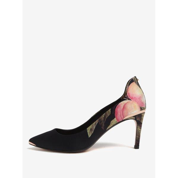 Pantofi negri cu print floral si detalii metalice Ted Baker Vyixyn P