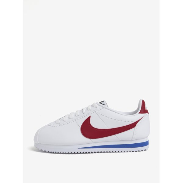 Pantofi sport albi din piele naturala pentru femei - Nike Classic Cortez
