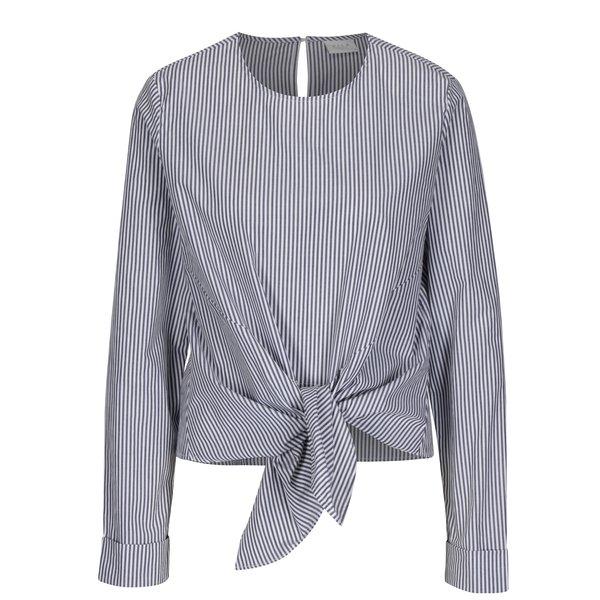 Bluza cu nod decorativ si dungi gri & crem - VILA Justy