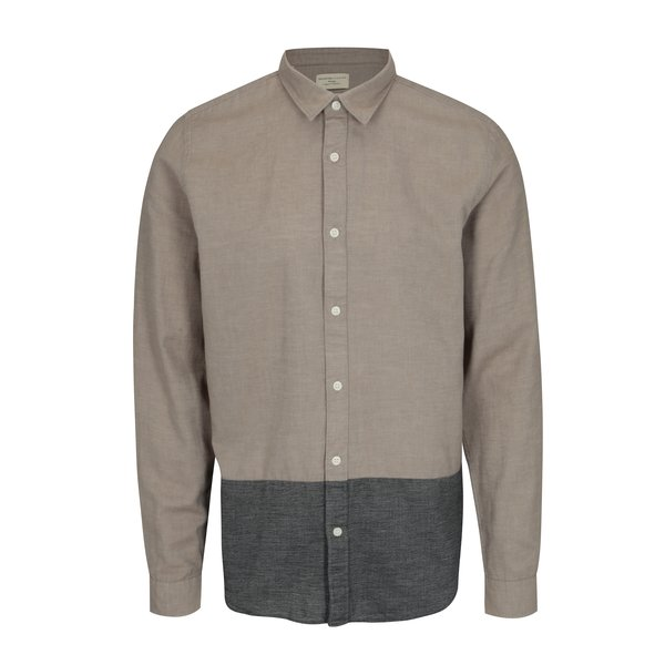 Camasa regular fit bej & gri - Selected Homme Two Todd