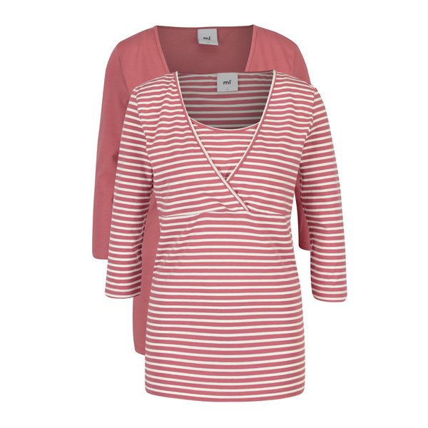 Set de 2 bluze pentru alaptare roz & crem - Mama.licious Lea