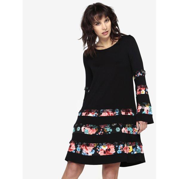 Rochie neagra cu dantela si print floral Desigual Marita
