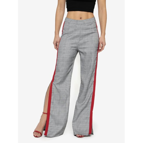 Pantaloni negru & alb cu dunga contrastanta si talie inalta – MISSGUIDED