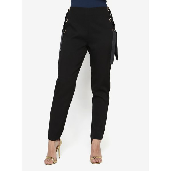 Pantaloni negri cu panglici decorative laterale - MISSGUIDED