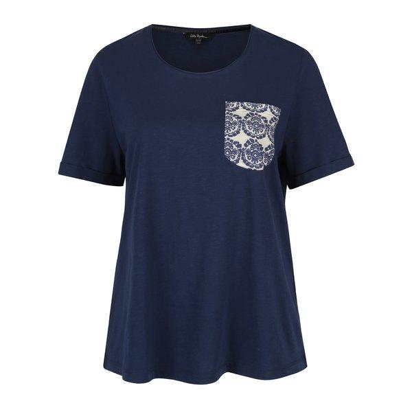Tricou albastru cu buzunar si print - Ulla Popken