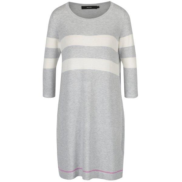 Rochie - pulover gri deschis cu dungi si maneci 3/4 - VERO MODA Lacole