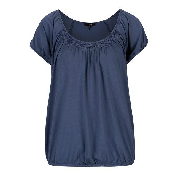 Tricou albastru cu insertie elastica in zona decolteului - Yest