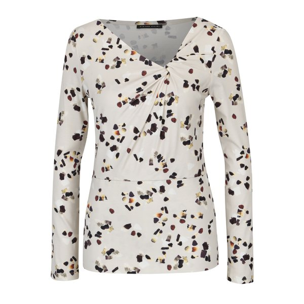 Bluza crem cu print abstract si nod decorativ Pietro Filipi