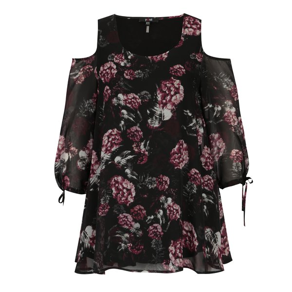 Bluza neagra cold shoulder cu print - Yest