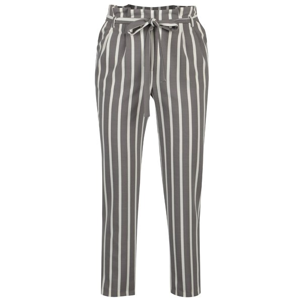 Pantaloni gri&crem in dungi Miss Selfridge