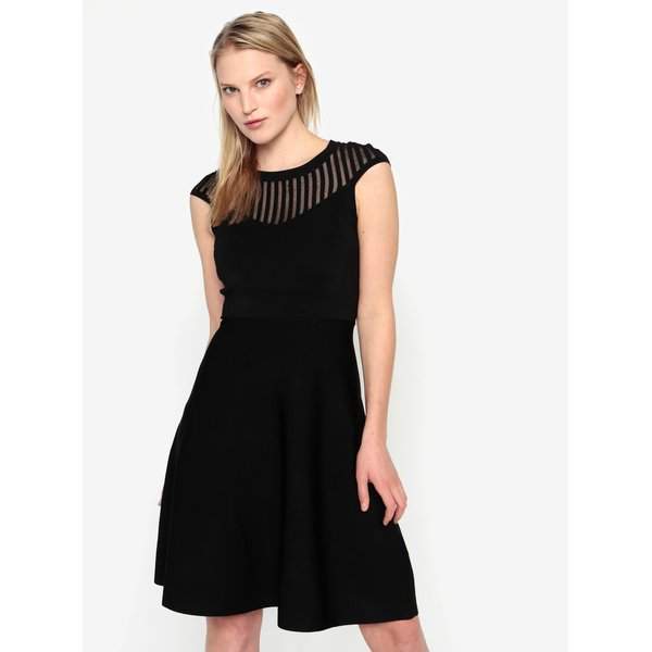 Rochie neagra cu dungi si insertii translucide – French Connection Rosecrepeknts