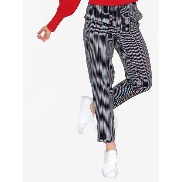 Pantaloni bleumarin in dungi cu talie inalta Selected Femme Elisa
