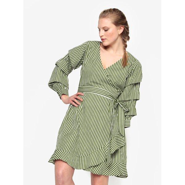 Rochie verde cu dungi crem si volane - VILA Picana