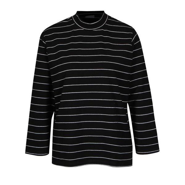 Bluza neagra in dungi subtiri cu guler Jacqueline de Yong Gana
