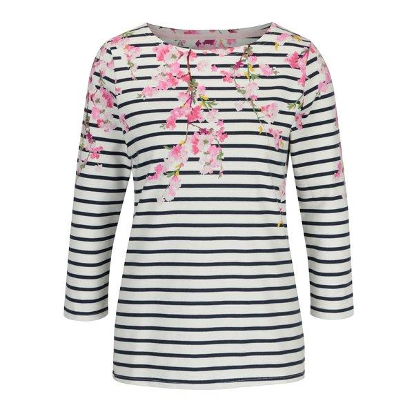 Bluza crem cu print floral si maneci 3/4 - Tom Joule Harbour