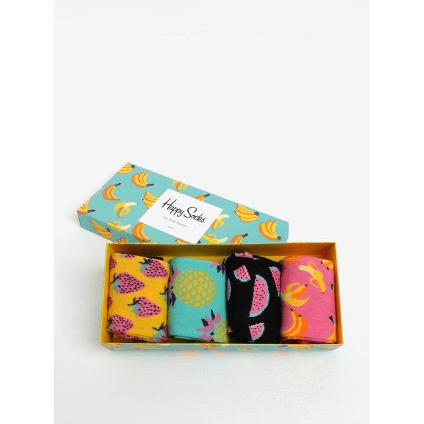 Set de 4 perechi de sosete multicolore cu model pentru femei - Happy Socks Fruit