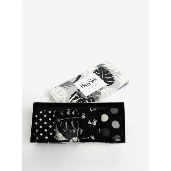 Set de 4 perechi de sosete alb-negru unisex - Happy Socks Black&White