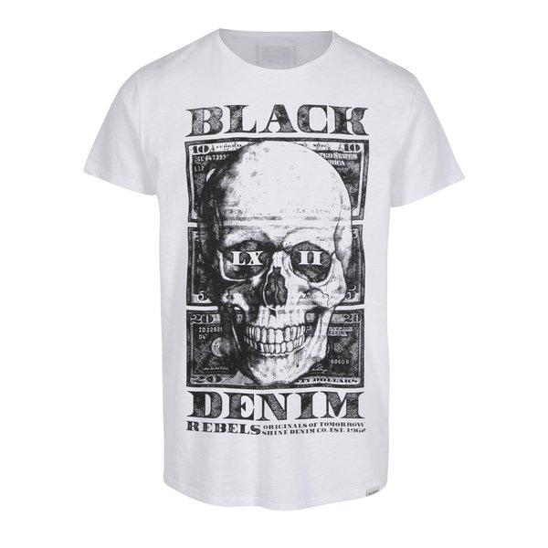 Tricou alb cu print craniu - Shine Original Rebel