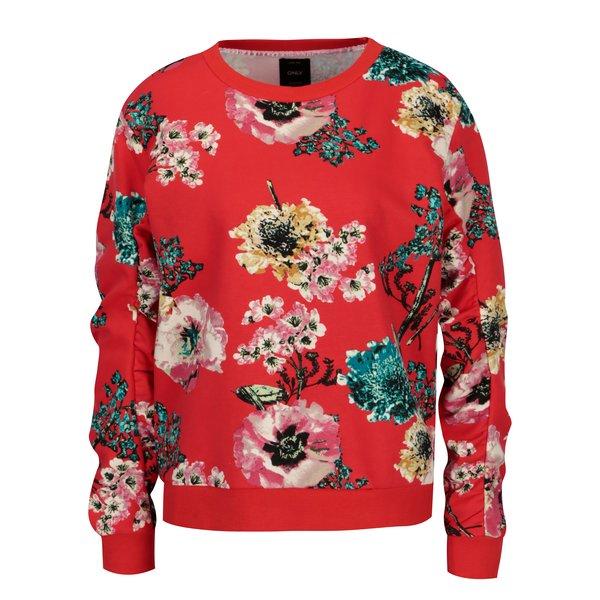 Bluza rosie cu print floral ONLY Katherine