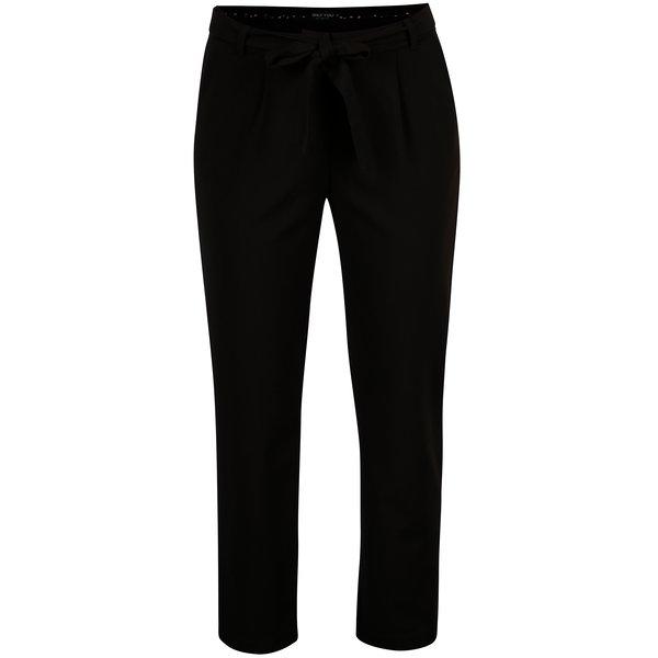 Pantaloni negri cu talie inalta si funda - ONLY Michelle