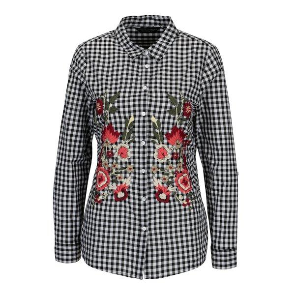 Camasa cu broderie florala si carouri alb & negru - Dorothy Perkins