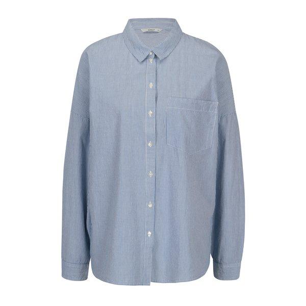 Camasa oversized alb&albastru in dungi - ONLY Joline