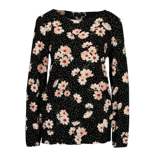 Bluza neagra cu print floral si buline - Dorothy Perkins