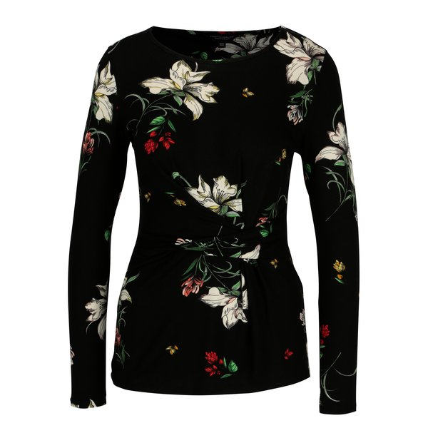 Bluza neagra cu print floral si detaliu in talie - Dorothy Perkins
