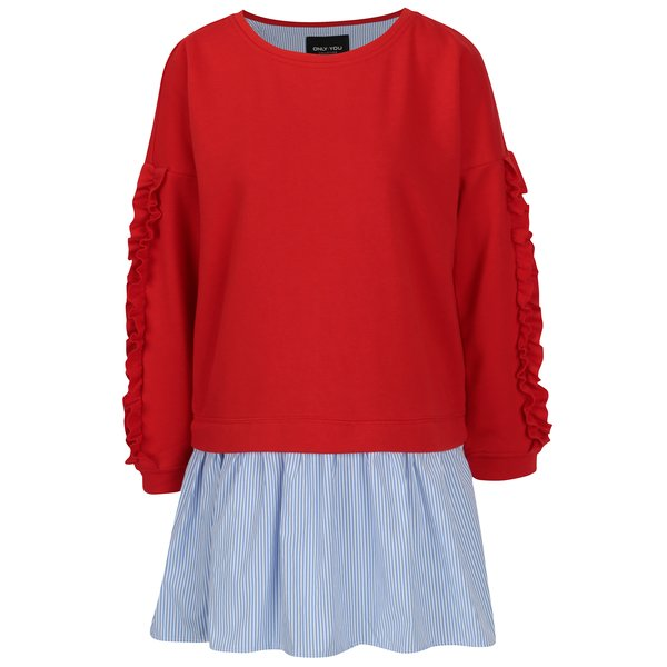 Bluza rosie cu volane pe maneci si terminatie de camasa – ONLY Sunny