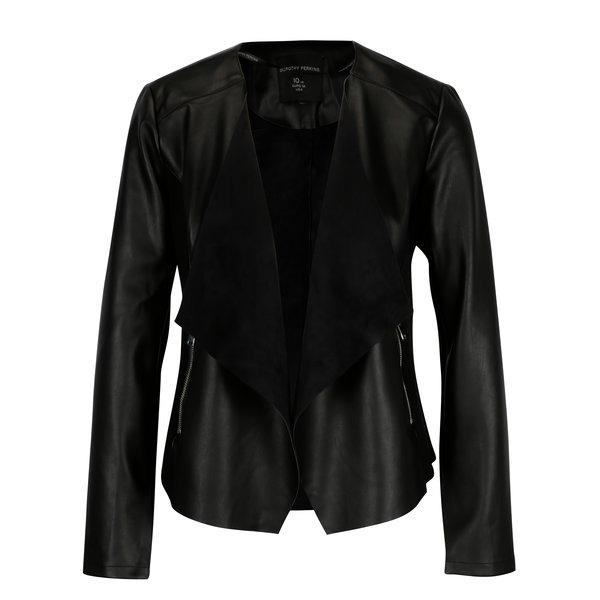 Jacheta neagra din piele sintetica - Dorothy Perkins
