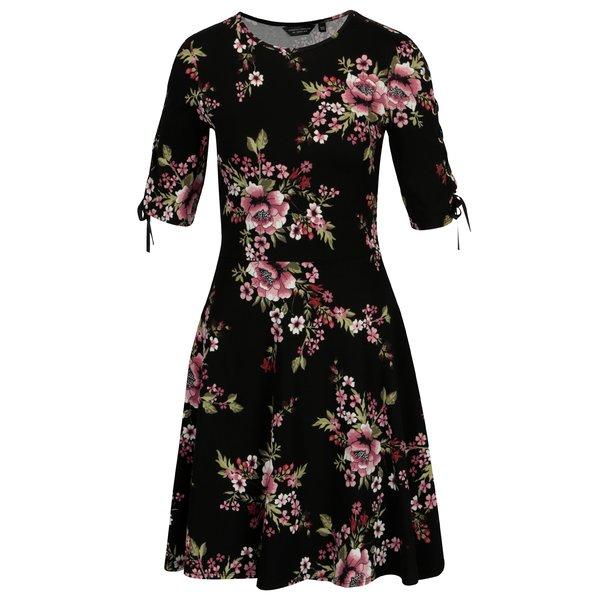 Rochie neagra cu print floral si siret pe maneci Dorothy Perkins