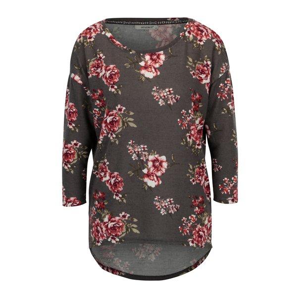 Bluza maro cu maneci 3/4 si print floral - Hailys Mia