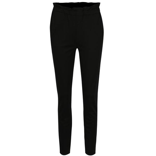 Pantaloni negri cu talie elastica VILA Freda