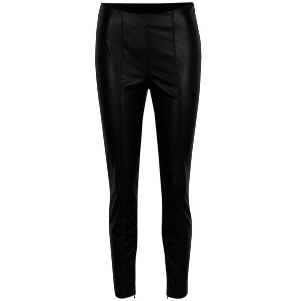 Pantaloni negri din piele sintetica cu talie inalta VILA Pale