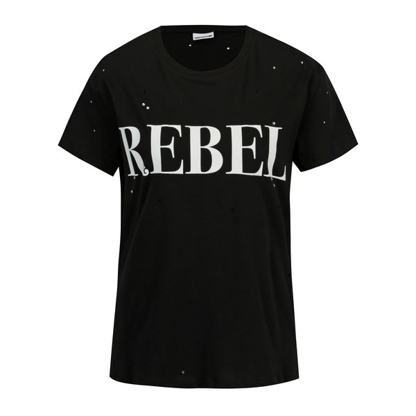 Tricou negru cu text si decupaje - Noisy May Command