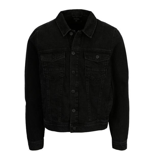 Jacheta neagra din denim Burton Menswear London