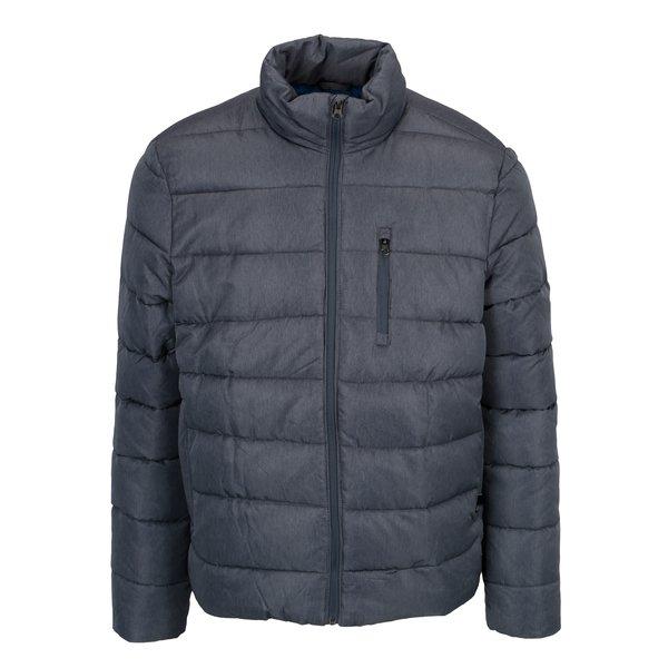 Geaca matlasata albastra de iarna cu fermoar Burton Menswear London