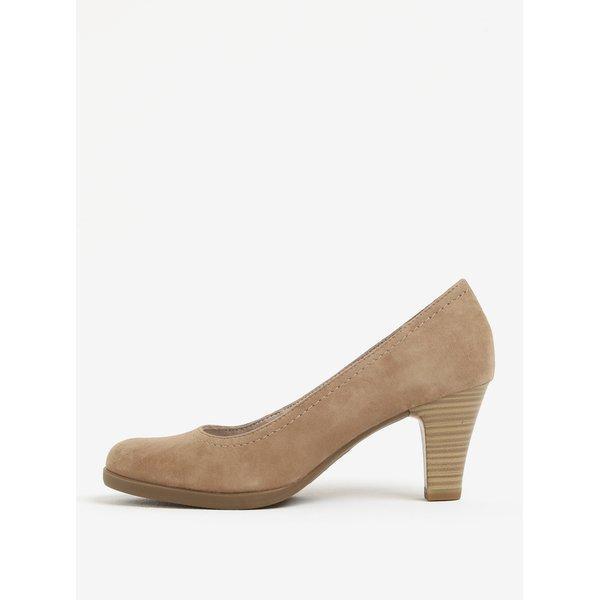 Pantofi bej din piele intoarsa cu toc si cusaturi decorative Tamaris