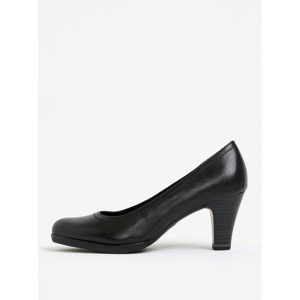 Pantofi negri din piele cu toc si cusaturi decorative Tamaris