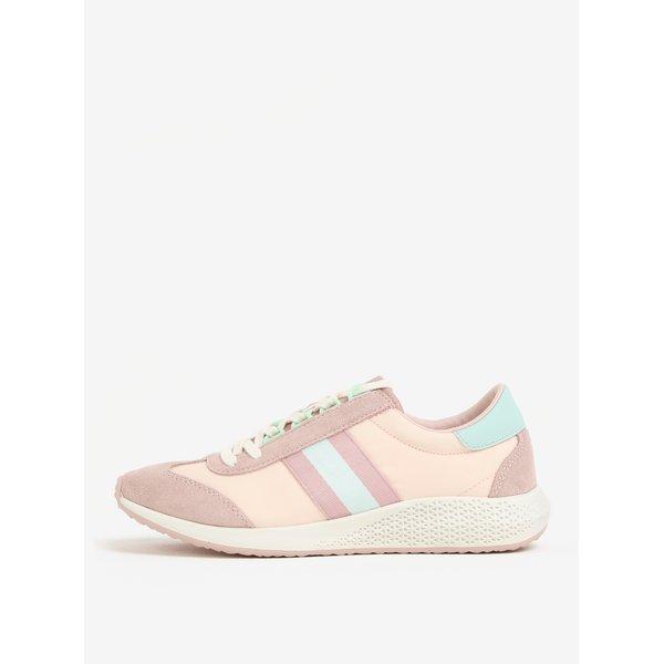 Pantofi roz cu detalii din piele intoarsa - Tamaris