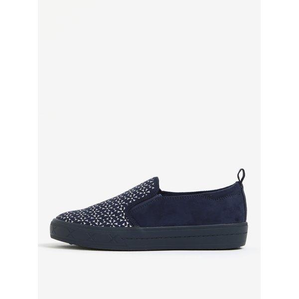 Pantofi slip on bleumarin cu aplicatii argintii - Tamaris