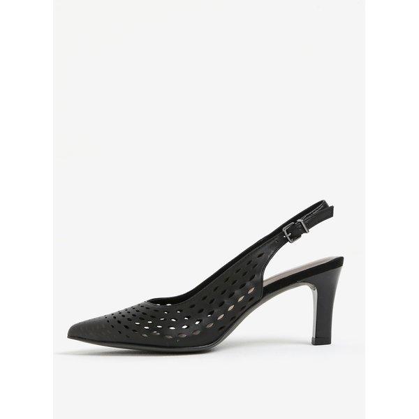 Pantofi negri din piele naturala cu toc si decupaj pe calcai - Tamaris