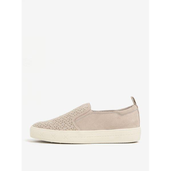 Pantofi slip on bej cu aplicatii argintii - Tamaris