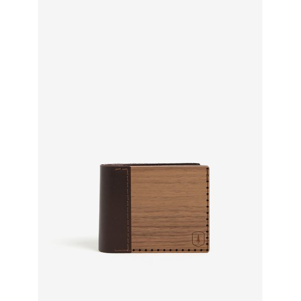 Portofel maro din lemn si piele - BeWooden Virilia